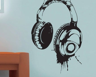 Wall Decal - Headphones Wall Decal, wall art sticker - Wall art - Bedroom wall sticker