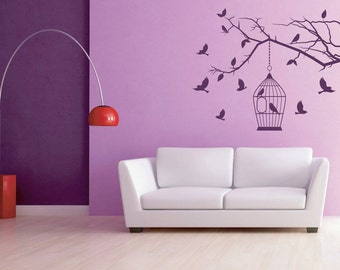 Branches wall decal with Birdcage - Wall Art sticker