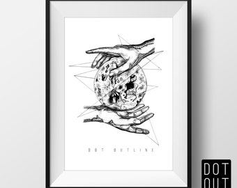 The Luna Design - A5 Art Print - SALE (up to 50% OFF) Moon Hands Anatomy Illustration - Dotwork Linework Collaboration - A5