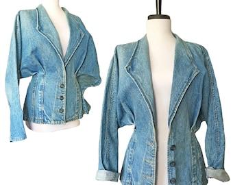 Vintage Avant Garde Denim Bloused Bodycon Blazer Jacket
