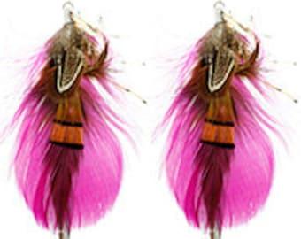 FUSHIA FEATHER EARRINGS
