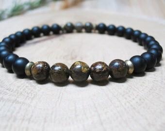 Mens Bracelet-Bronzite Bracelet- Black Onyx Bracelet-Energy Bracelet-Protection Bracelet-Power Bracelet-Root Chakra Bracelet-Yoga Bracelet