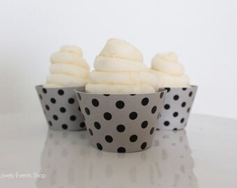 Silver & Black Dot Cupcake Wrappers, Silver Cupcake Wrappers, Polka Dot Cupcake Wrappers, Cupcake Wrappers, Cupcakes-Set Of 6,12,16,24+