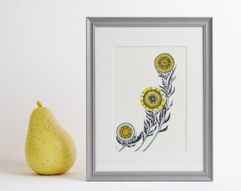 Framed Abstract Yellow Flowers Print