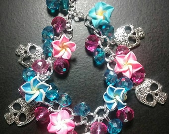Crystal Blue and Pink beads with flowers and skulls chain bracelet