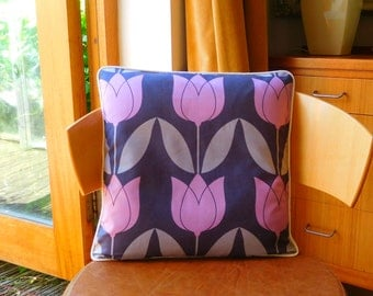 Tulip motif cushion in charcoal, grey and mauve. Retro cushion with tulip motif in charcoal, grey and mauve. Tulip design cushion.