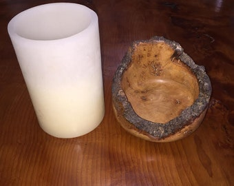 Burled Chestnut Candle Holder (Candle not included)