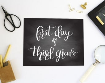 First Day of Third Grade Photo Prop - First Day of School Printable - First Day of School Sign - First Day of School Chalkboard