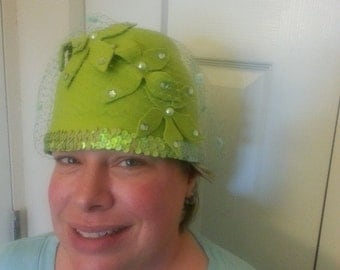 Chartreuse Green felt Sequined trimmed hat