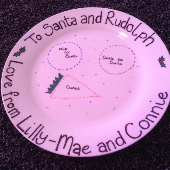 Personalised  Santa Plates, Can feature any name, Christmas eve, santa, father Christmas, Rudolph, mince pie, cookie, milk, carrot,