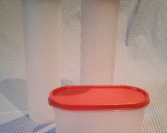 Lot of 3 Vintage Tupperware Storage Containers - Modular Mates & Lids, Red-Orange, Green 1661 and 1612