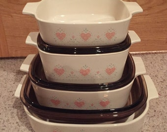 """Corning Ware 7 piece set Pink Heart """"Forever Yours"""" casserole dishes w/ Amber Pyrex Lids made in USA CORELLE"""
