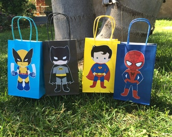 Favors bags or Candy Bags set of 12pcs little superheroes