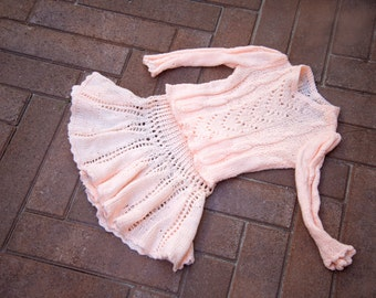 Pink Knitted skirt with sweater-Age 5-7