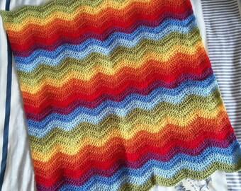 Rainbow Inspired Handmade Crochet Car-Seat-Sized Blanket Throw