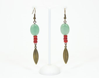 Earrings Aventurine and coral