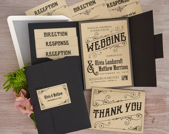 Mara Folio Pocket Invitation Set - Thermography Wedding Invite - Classic Wedding Invite - Wedding Invite Suite - AV6079