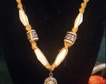 Sterling Silver Sunburst Hemp Necklace