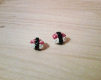 Salmon nigiri stud earrings