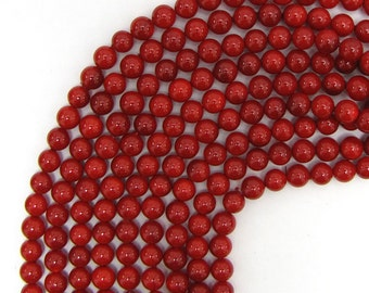 """6mm red shell pearl round beads 16"""" strand 13495"""