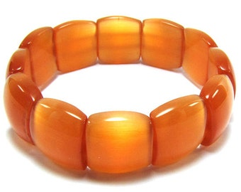 "18mm orange cats eye stretch bracelet 8"" 31009"