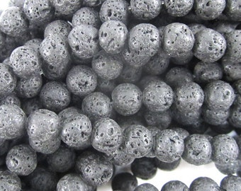 "6mm black volcano lava round beads 15.5"" strand 34636"