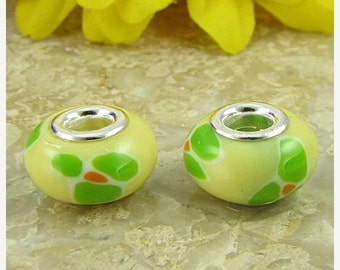 40% CLEARANCE 2 sterling silver lampwork glass beads fit 0234 14504