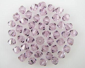 48 4mm Swarovski crystal bicone 5301 Lt Amethyst beads