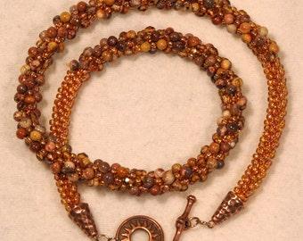 Kumihimo necklace, honey