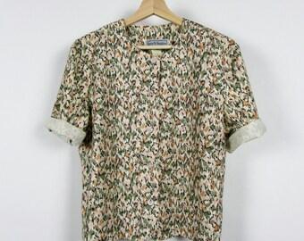 FINAL SALE! Vintage Spring Blouse / Short-sleeved button down top / Anthropologie / Medium M