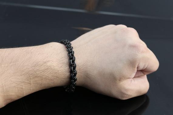 Black Stainless Steel 2 in 2 Chain Bracelet - Gothic Chainmail Bracelet - Chainmaille Bracelet - Chain Maille Bracelet - Unisex Jewelry