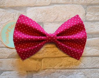 """Bow Tie Bowtie """"Polka Dots Pink"""" for dogs, cats or other pets, dots on pink"""