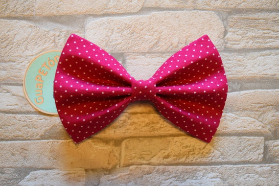 "Bow Tie Bowtie ""Polka Dots Pink"" for dogs, cats or other pets, dots on pink"