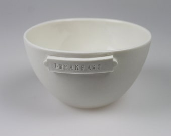 Archive Breakfast Bowl in White Porcelain - ceramic - pottery - bowl