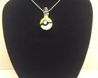 glass pokeball necklace pendant yellow instinct