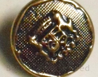 VINTAGE 5 Pc Lansing Gold Black tone Antique Coat of Arms Buttons jacket sweater sew sewing craft supplies