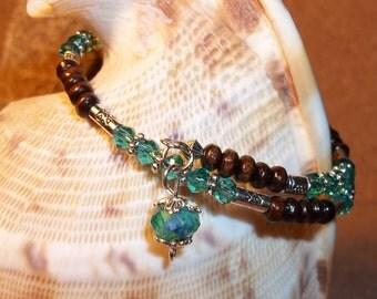 Aquamarine Swarovski Crystal, Tibetan Silver & Wooden Hand Crafted Beaded Bangle Wrap Bracelet