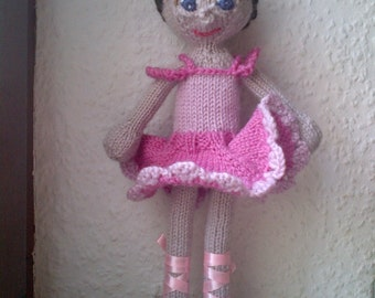 Ballerina doll, custom made doll, handknitted doll, benutzerdefinierte puppe