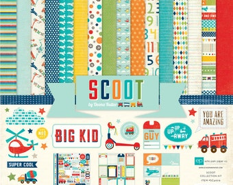 "Echo Park Paper Scoot Collection 12"" x 12"" Scrapbook Paper and Sticker Kit"