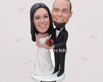 Bride and groom custom cake topper form your photo