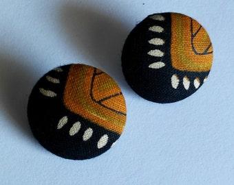 Ethnic Print Button Earrings