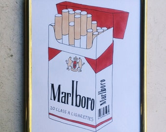 MARLBORO original framed illustration