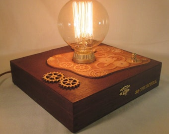 Retro Steampunk Lamp - Edison Bulb - Upcycled Cigar Box with Antique Replica Components