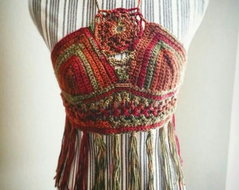 Crochet fringe halter top by NovaLinda Designs