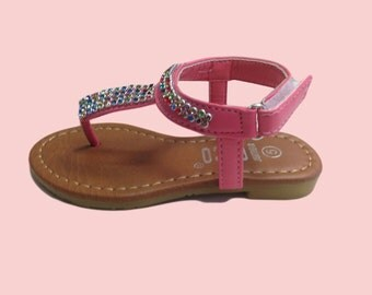 KID Toddler Girls Sandals - Pink Rhimestones sandals perfect for flower girls, fairies, and princess