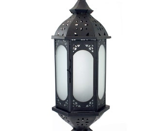 21in. Large Metal European-style Hanging Candle Lantern with Frosted Glass Panels