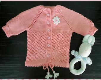 Handmade Baby sweater, organic yarn, up to 12 months