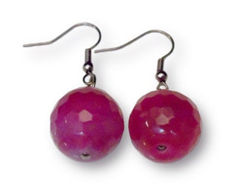 Pink Crystal Gum Drop Earrings