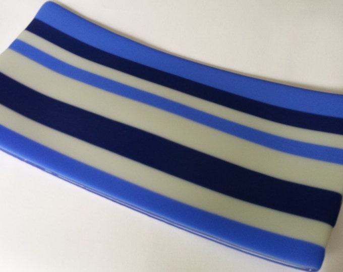 In the colbalt blues. Fused glass tray or platter.
