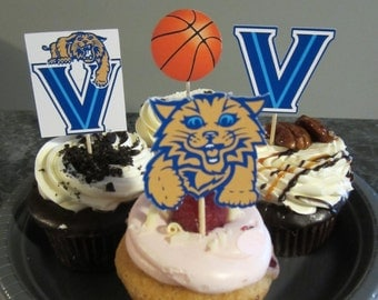 Cupcake toppers, party supplies, Villanova Wildcats, basketball, sports theme, NCAA, March Madness, college